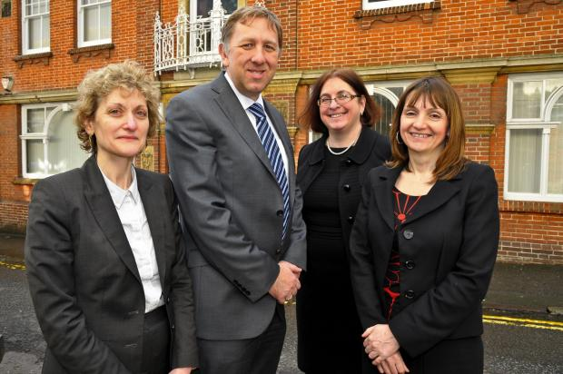 This Is Wiltshire: Pictured from left to right are solicitors Lois Smith, Robert Collins, Samantha O'Sullivan and Sharon MacDonald outside Withy King's new of