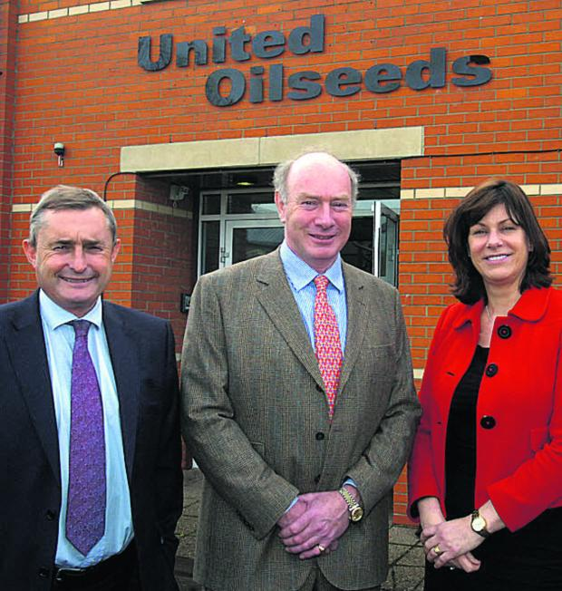This Is Wiltshire: Devizes MP Claire Perry with United Oilseeds managing director Chris Baldwin and John Elliot, chairman