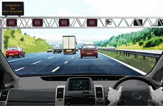 This Is Wiltshire: An artist's impression of the 'smart motorway' in action. Image courtesy of the Highways Agency