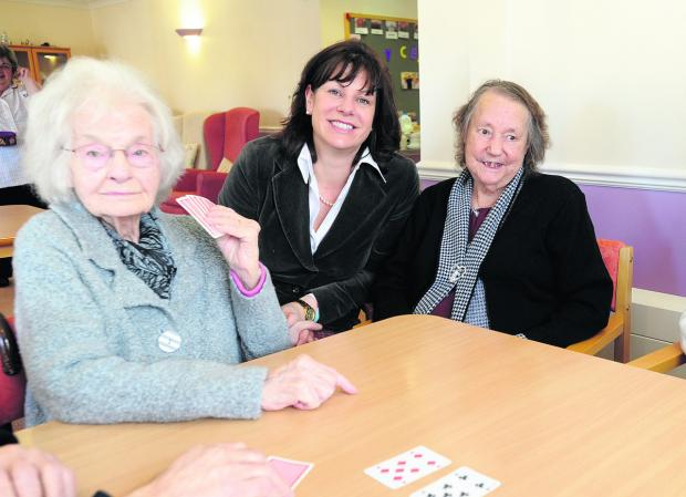This Is Wiltshire: Claire Perry with day centre clients Betty Richmond and Lilly Oaksey