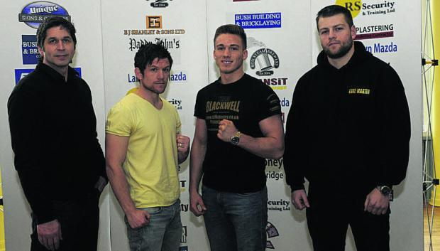 This Is Wiltshire: Contender Gym trainer Mark Kent (left) with fighters (l-r) Gareth Heard Nick Blackwell and Luke Martin at Bath's Forum for today's announcement (Photo: Trevor Porter)