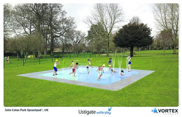This Is Wiltshire: An artist's impression of the splash pad designed for children's play at Chippenham's John Coles Park
