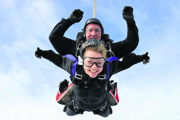 This Is Wiltshire: An exhilarated fundraiser drops in at Swindon Jump Centre