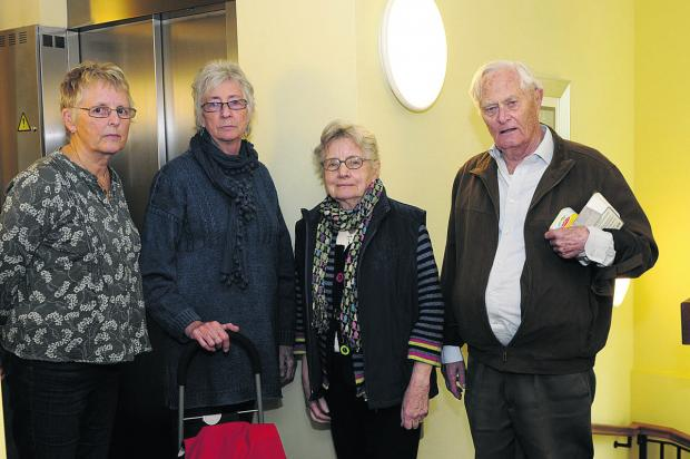 This Is Wiltshire: Vivien Norfolk, Gill Winfield, Joyce Shaw and Roy Hobson are annoyed at the length of time they have had to wait for their flats' lift to be fixed