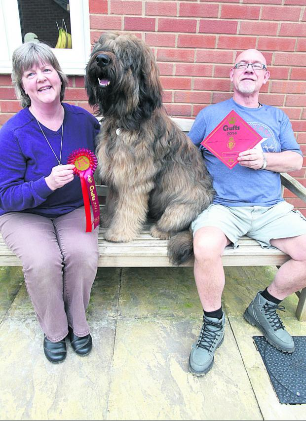 This Is Wiltshire: Owners Jack and Linda Grindrod with their 10-month-old Briard dog, Dexter                (VS227) By VICKY SCIPIO