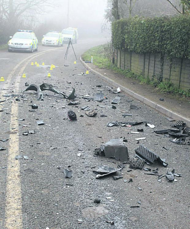 This Is Wiltshire: Debris and police at the scene of the A3102 accident last Thursday
