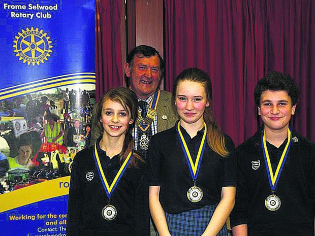 This Is Wiltshire: Left to right: winners Eleanor Cousins-Brown, Maia Campbell-Lewis and Finn Robertson, with Terry Candy, president of Frome Rotary Club