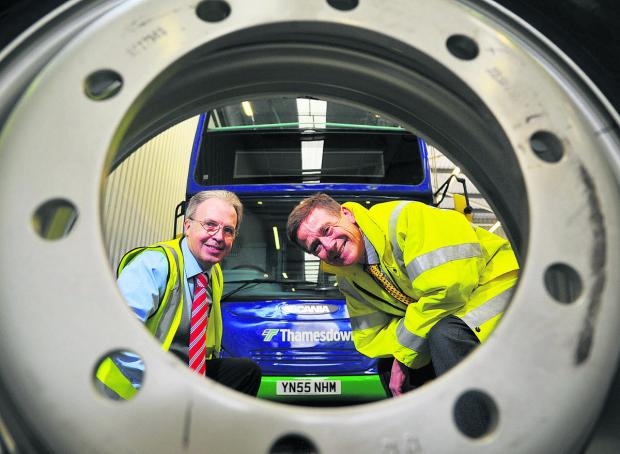 This Is Wiltshire: Dave Spencer, head of engineering at Thamesdown, left, with John Catling, chief executive officer of Wheelright