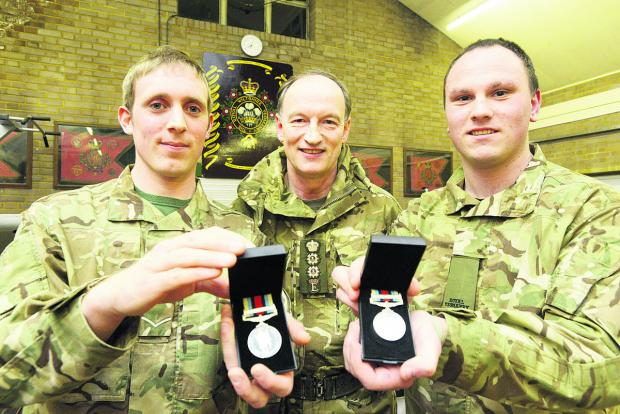This Is Wiltshire: Trooper Phil Marshall, Colonel Alistair Bruce, Command of London District and Lance Corporal Andy Matthews
