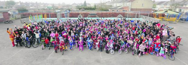 This Is Wiltshire: Everybody gets in on the action as Ferndale Primary School's wheely wonders celebrate the national Big Pedal competition