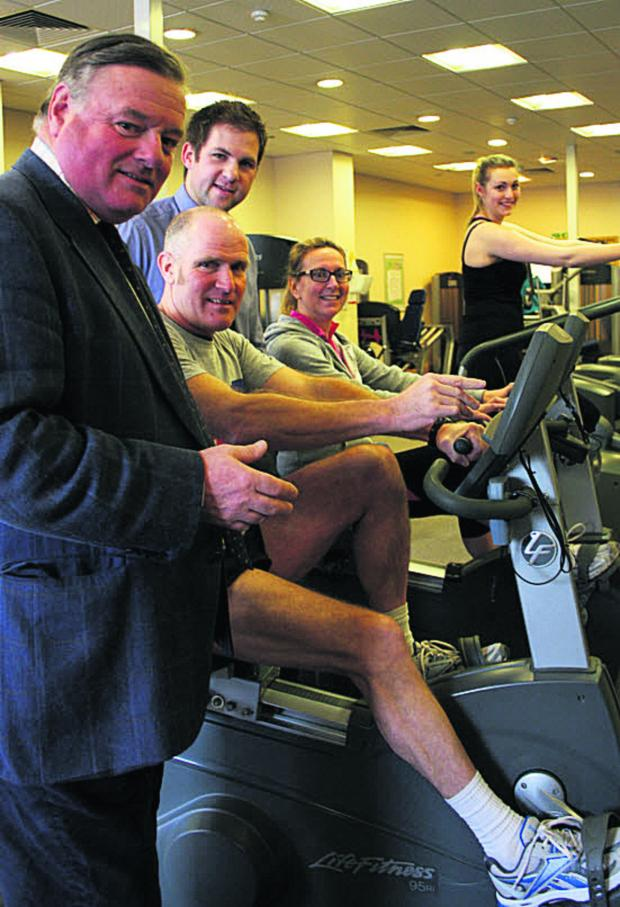 This Is Wiltshire: Coun Jonathon Seed, Devizes Leisure Centre manager Dan Webb and gym users Keith Moore, Anna Villette and Elyne Williams