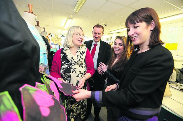 This Is Wiltshire: Shadow Work and Pensions Secretary Rachel Reeves, right, during her visit to New College with, from left, Anne Snelgrove, Labour's South Swindon Parliamentary candidate, Mark Dempsey, Labour's North Swindon Parliamentary candidate, and student M