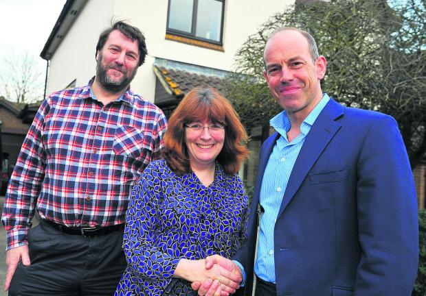 This Is Wiltshire: Phil Spencer, right, with Robert and Angela Morrison at their house in Shrivenham, which he is trying to sell through his TV programme Secret Agent