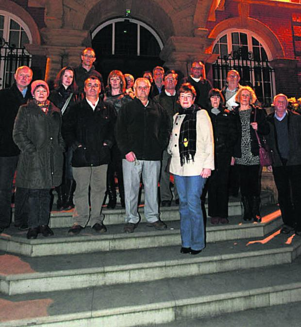 This Is Wiltshire: Jayne Baker, front, and other protesters on the steps of Marlborough Town Hall