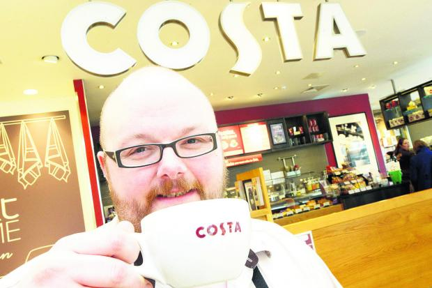 This Is Wiltshire: Costa Next@Home manager Matt Burt raises a cup to Karen Lloyd