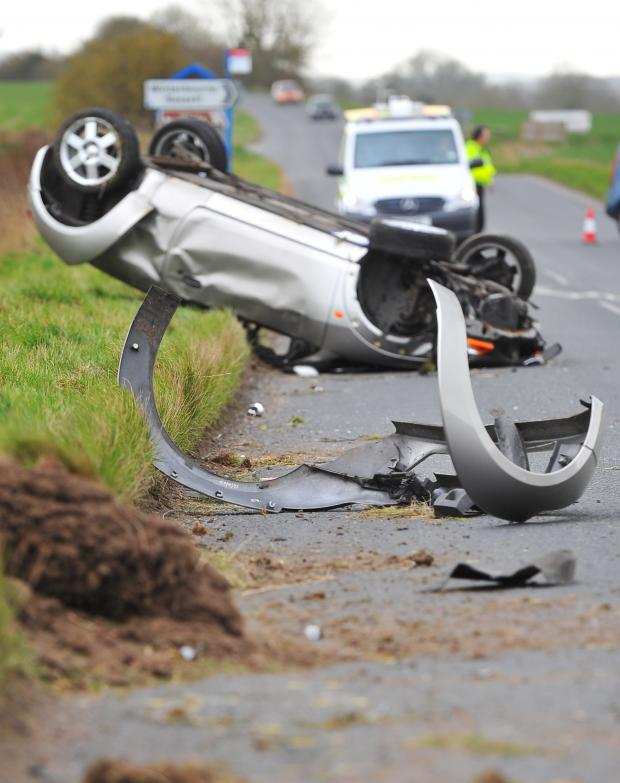 This Is Wiltshire: The accident scene on the A4361 this afternoon