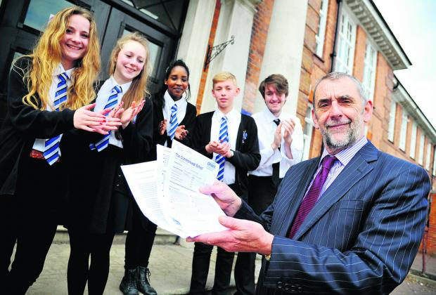This Is Wiltshire: From left, Commonweal School pupils Aimee, Charlie, Joy, Jack and Sam with  headteacher Keith Defter