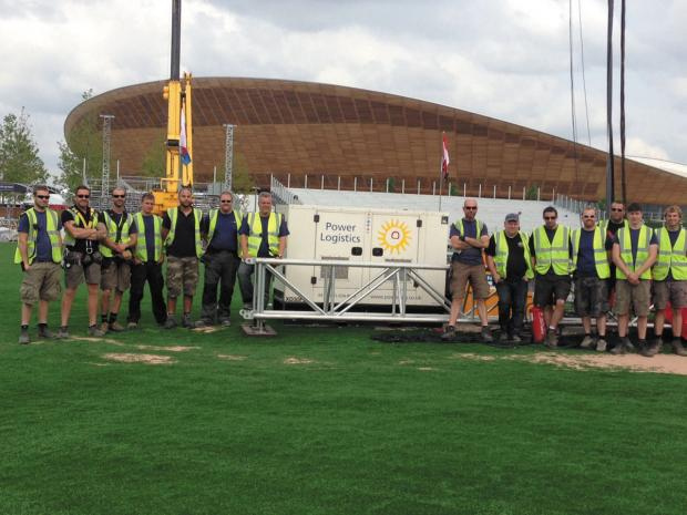 This Is Wiltshire: Staff from Power Logistics at Draycot Cerne at the Velodrome on the Olympic park