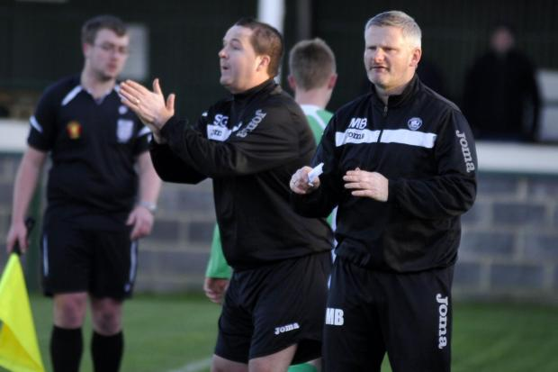 This Is Wiltshire: Westbury United manager Matt Bown (right)