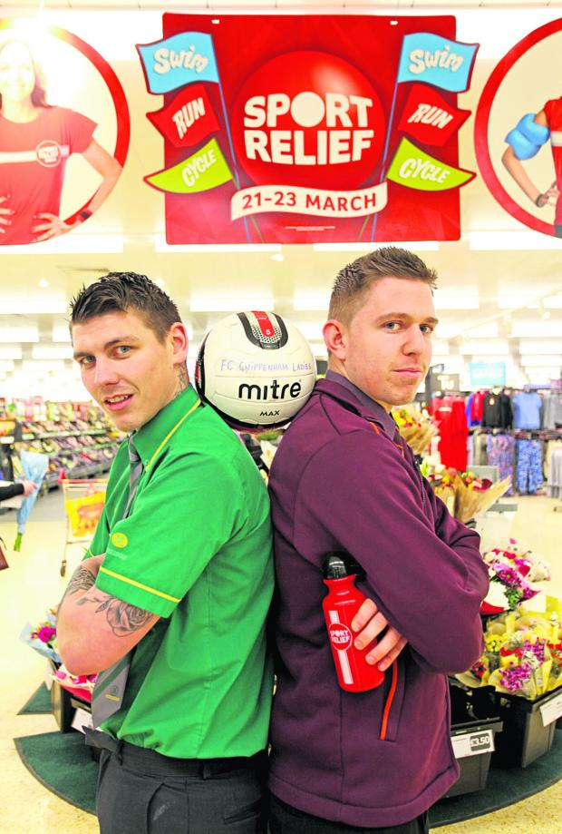 This Is Wiltshire: Morrisons worker Dan Bendall and Sainsbury's counterpart Tim Knight were among rival staff who took part in a football match at the weekend