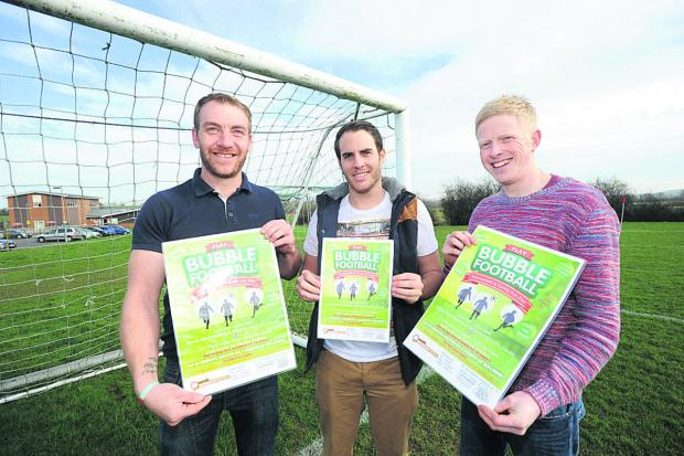 This Is Wiltshire: From left are bubble football players Simon Hanson, Leigh O'Sullivan and Jordan Wren                                       (DV1167) By diane vose