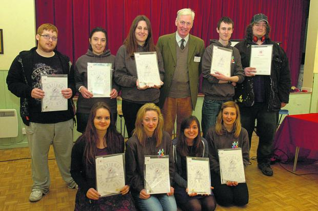 This Is Wiltshire: Pictured, back, are: Jennan Canfield, Emily Saward, Kaisha Tyler William Wyldbore-Smith ( high sheriff ), Dan Spears, and Wil Matthews; front: Ksenia Soloviva, Jasmin Russell, Elena, Rossi, and Emma Tandy                                                 (P