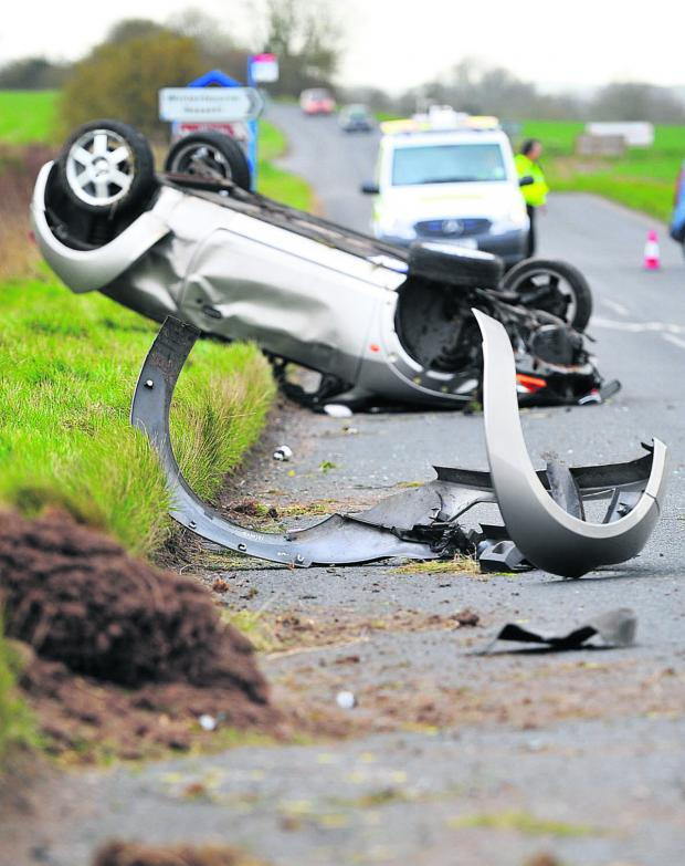 This Is Wiltshire: The wreckage of the car on the A4361