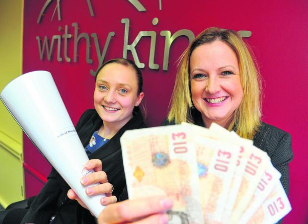 This Is Wiltshire: From left, Lisa De-La-Hunty and Mandy Casavant, from Withy King Solicitors in Old Town which has raised £ 7,000 for Prospect during Make A Will month