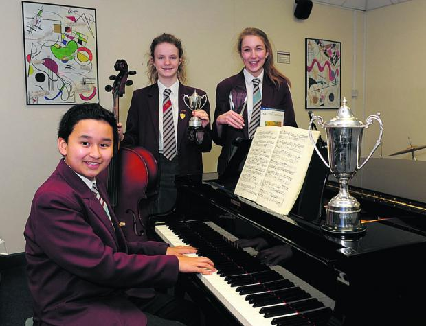 This Is Wiltshire: St Augustine's Young Musician of the Year Vincent Ling with runners-up Jessica Jennings and Clover Kayne