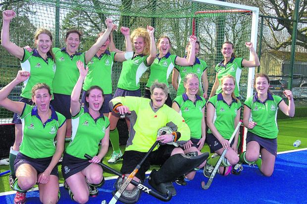 This Is Wiltshire: Marlborough ladies first team celebrate after lifting hockey's West Clubs League North Division title with a 2-0 win over Lansdown on Saturday