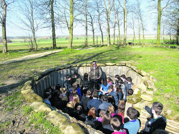 This Is Wiltshire: Devizes School students in the trenches at Bayernwald, Belgium