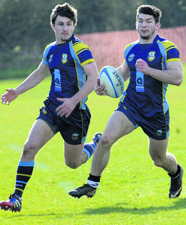 This Is Wiltshire: Jackson Szabo (right) scored a hat-trick of tries for Trowbridge