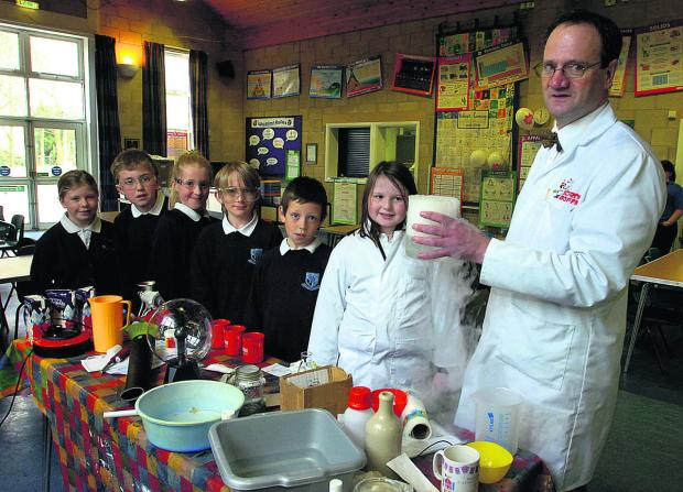 This Is Wiltshire: Pupils Jade, James, Alicia, George, Cory and Katherine with John Marshall and some dry ice