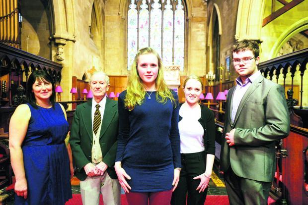 This Is Wiltshire: Lesley Hopewell, Norman Collins, Verity Dams, Hope Steadman and Joseph Annetts taking part in the Swindon Music Festival