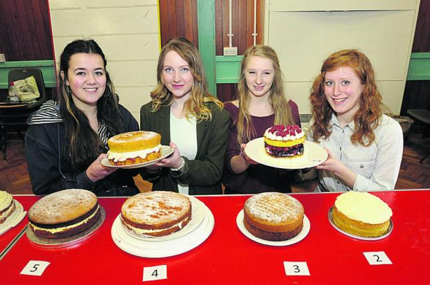 This Is Wiltshire: Sixth-formers Sharra, Millie, Becca and Nancy, who arranged the bake off at Kingdown School