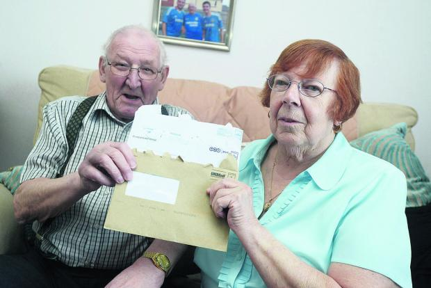 This Is Wiltshire: David and Pat Spurling will no longer be able to get their pensions from the local post office due to closure of the Eldene Centre