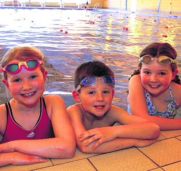 This Is Wiltshire: Jessica, Leo and Marcy get ready for the swimathon at