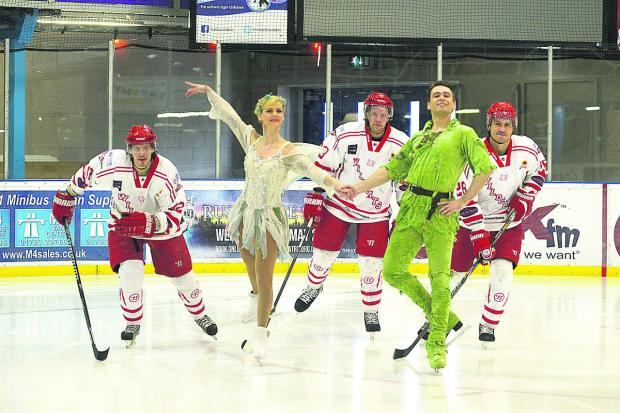 This Is Wiltshire: Peter Pan skaters Katya Bokiy and Anton Smirnov with Swindon Wildcats Aku Pekkarinen, Henri Sandvik and Jan Kostal