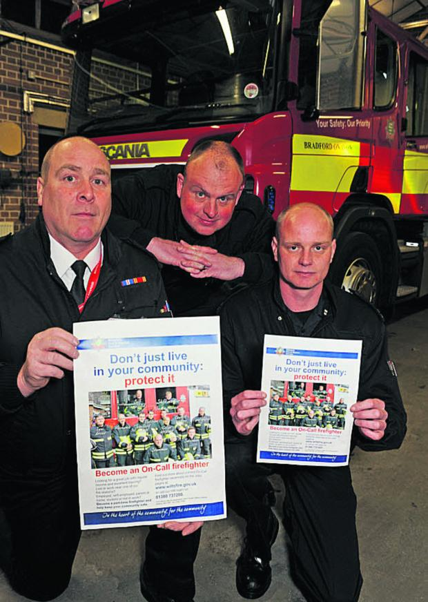This Is Wiltshire: Bradford on Avon fire station watch manager Sean Gerrish, Ian Fitzgerald and Dan Epps