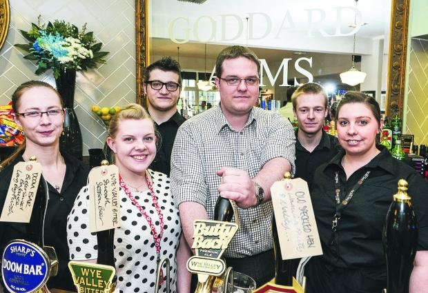 This Is Wiltshire: Goddard Arms staff, from left, supervisor Mallory Humphries, Madeline Cotterill, Josh Hackett, general manager George Hoare, Stephen King, Supervisor, Sami Harper      Picture: Alex Skenne
