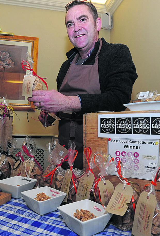 This Is Wiltshire: Paul Stewart with his Megs Cottage Fudge at the Local Larder trade show
