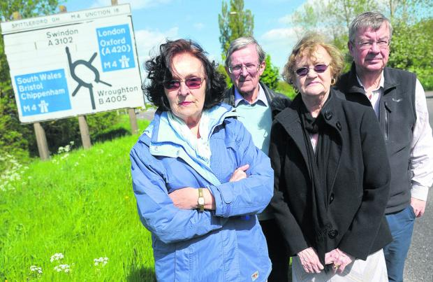 This Is Wiltshire: From left, Mollie Groom, Tom Pepperall, Avril Roe and John Bennett who are opposing Wiltshire County Council's proposals to overhaul the M4 Junction 16 area