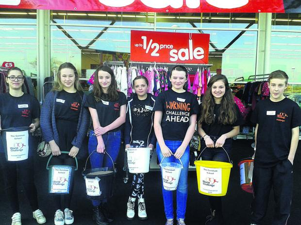 This Is Wiltshire: Year 8 students at The Corsham School raised £1,360 for their World Challenge expedition to Iceland with a bag pack at Melksham Asda.