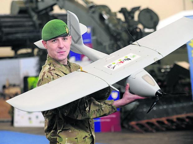 This Is Wiltshire: Lce Corp Max Willshere-Davis with an unmanned craft at Upavon