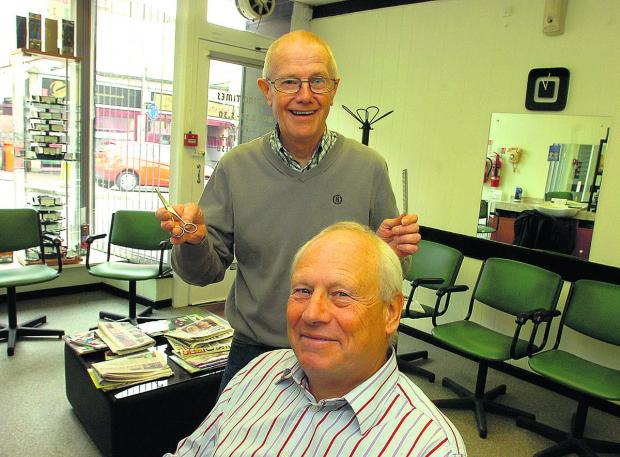 This Is Wiltshire: Barber Les Smith with regular customer Alan Williams