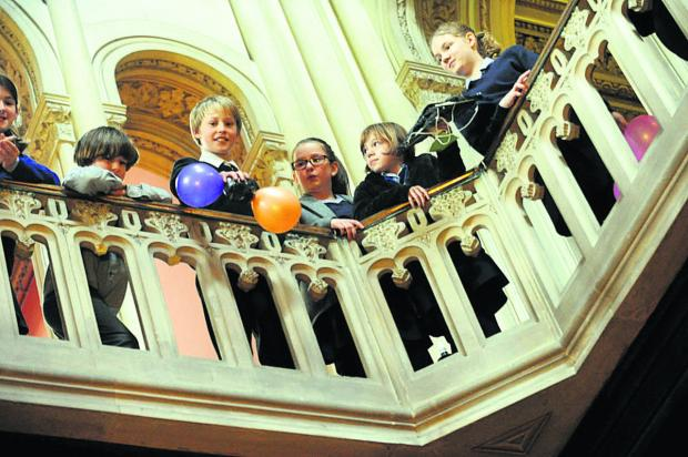 This Is Wiltshire: Grittleton House School pupils do a Mars Egg Landing challenge as part of the science week activities