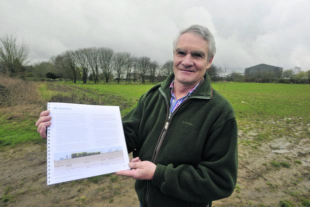 This Is Wiltshire: Tim Barton with revised plans for a solar farm on his land
