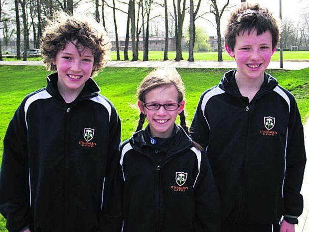 This Is Wiltshire: St Margaret's pupils (l-r) Archie Hughes, Amy Bolton and Nick Manners-Bell will compete at London's Olympic Park