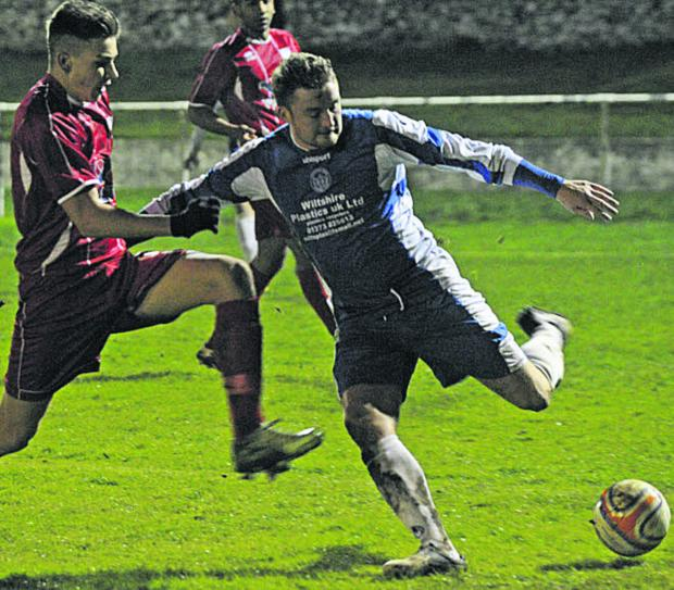 This Is Wiltshire: Bradford's Tom Welch goes on the attack in Tuesday's Les Phillips Cup tie