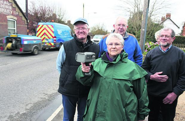 This Is Wiltshire: David Duncan, Michael Watson, Judy Rose and Ray Rogers, believe a pedestrian crossing could help to slow the traffic on Bath Road, Devizes